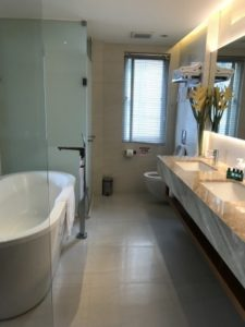 台湾SPAホテルの洗面所、トイレ、シャワールームのバスタブ写真