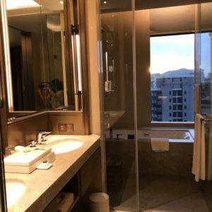 グランドメイフルホテルの化粧室、バスルームの写真。