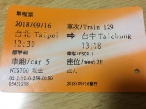 台北駅から台中行きの新幹線のチケット